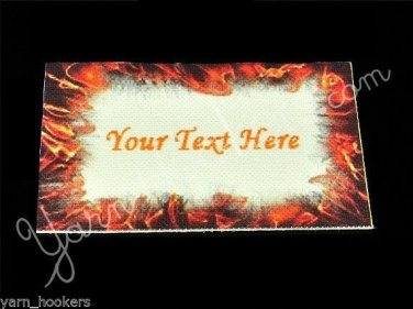 Flame - Iron On / Sew In - 100% Cotton Fabric Labels (White)