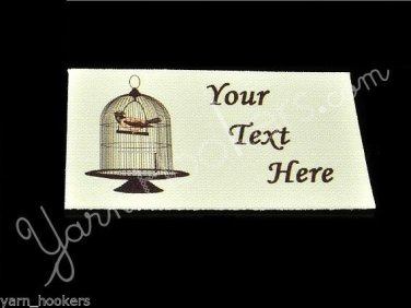 Bird in a Cage - Iron On / Sew In - 100% Cotton Fabric Labels (White)
