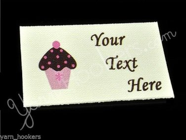 Cupcake - Iron On / Sew In - 100% Cotton Fabric Labels (White)