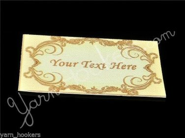 Golden Oval - Iron On / Sew In - 100% Cotton Fabric Labels (White)