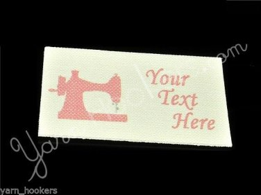 Pink Polka Dot Sewing Machine - 100% Cotton Fabric Labels (White)