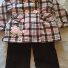 2 pc  Pink & Brown Plaid Swing Jacket with Corduroy Pants, Girl Toddler Size 3