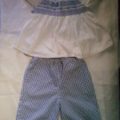 2 pc Checkered Baby Blue & White Outfit in Girls size: 24 months