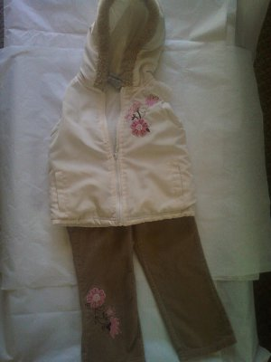 Jacket Vest with Embroidery & Corduroy Pants 2 pc set � Girl Size 3T