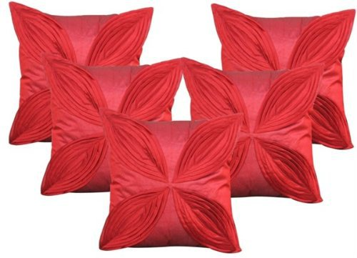 """Floral Pattern Cushions Cover (Pack of 5) -16""""x 16"""" - Maroon"""