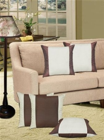 "Double Sided Cushions Cover (Pack of 5) - Cream/brown - 16"" X 16"""