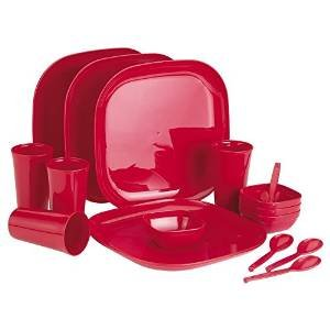 Prime Housewares Microwave Family of 4 Picnicware Square Dinner Set (16pcs Set) Red Color (3335_r)