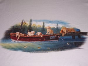 Labs On boat On white T-shirt NEW Large