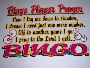 New Bingo Prayer T- shirt Adult Large Item #14