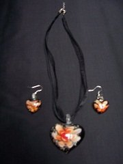 Murano Glass Pendant and earrings black heart orange flower