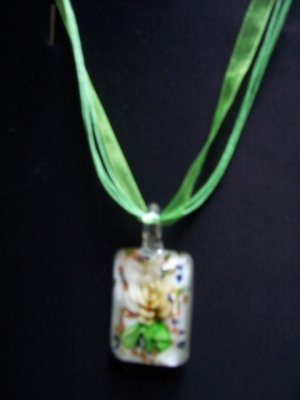 Murano Glass Square White Flower Pendant Necklace L@@K NEW