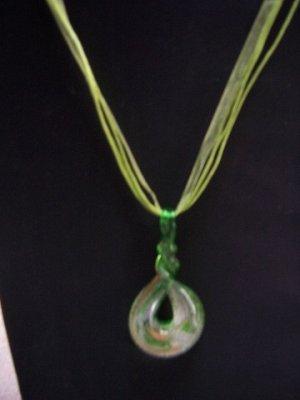 New Murano Glass Hoop Twist Pendant Necklace