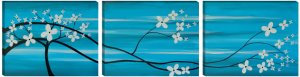 Feng Shui Floral Asian Tree Painting Turquoise