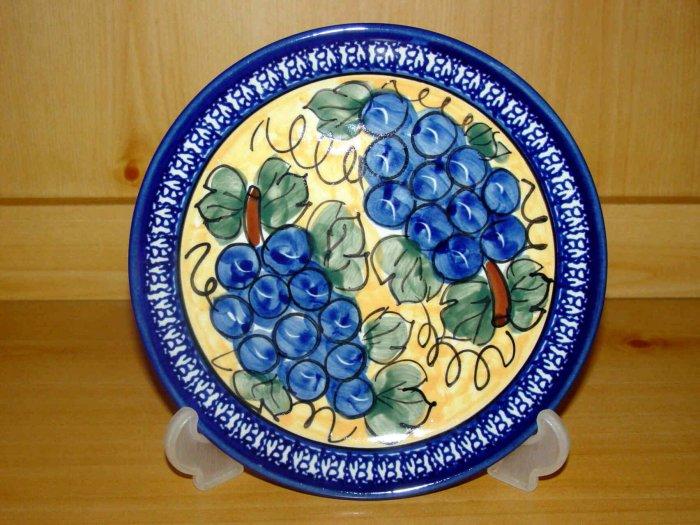 Polish Pottery Dessert Plate Unikat Grapes Boleslawiec Poland Handsigned!