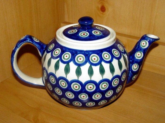 Polish Pottery Teapot Peacock Zaklady Ceramiczne Boleslawiec Poland