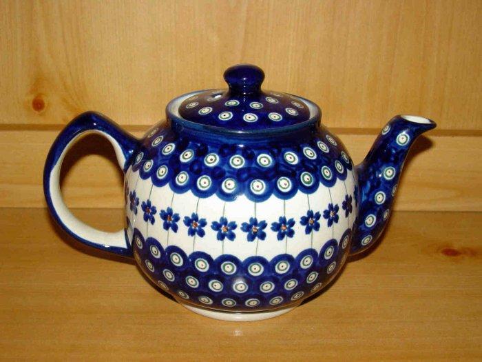 Polish Pottery Teapot Flowering Peacock  Zaklady Ceramiczne Boleslawiec Poland