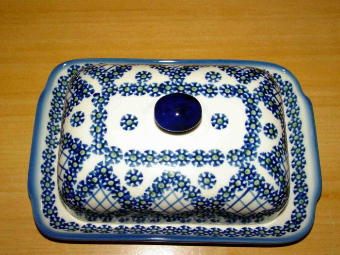 Polish Pottery Butter Dish Unikat  Fancy Peacock From Boleslawiec