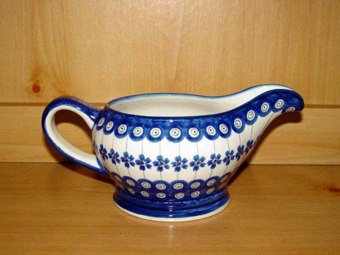 Polish Pottery Gravy Boat Flowering Peacock Gat 1 Zaklady Ceramiczne Boleslawiec