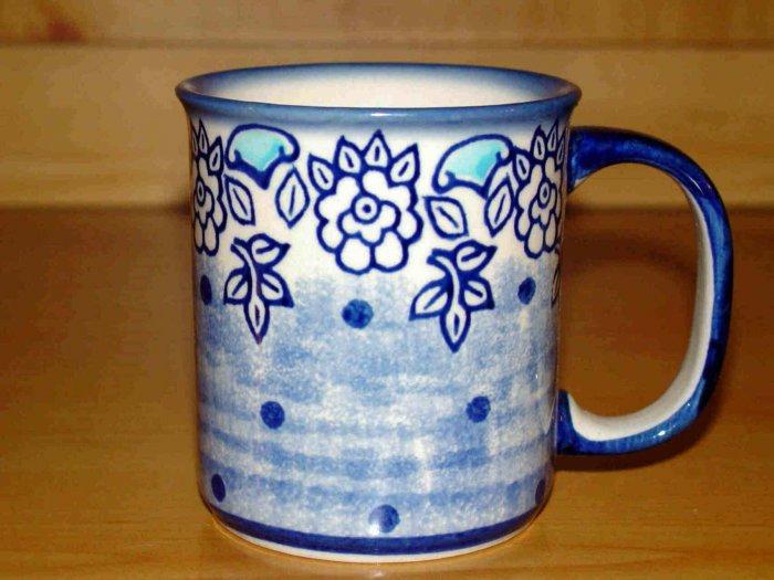 Polish Pottery Coffee Cup  Unikat Muted Blue Boleslawiec Poland