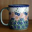 Polish Pottery  Coffee Cup Boleslawiec Unikat Pretty Flowers Artist Handsigned!