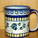 Polish Pottery Coffee Cup Ivy Unikat Boleslawiec Artist Handsigned!