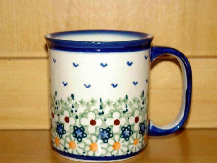 Polish Pottery Coffee Cup Boleslawiec Unikat  Flowers Artist Handsigned