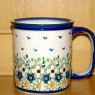 Polish Pottery Coffee Cup Boleslawiec Unikat  Flowers Artist Handsigned