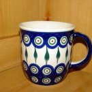 Polish Pottery Coffee Cup Peacock Zaklady Ceramiczne Boleslawiec