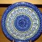 Polish Pottery Dinner Plate Unikat Gat 1 Blue Marble Signed Zaklady Boleslawiec Poland