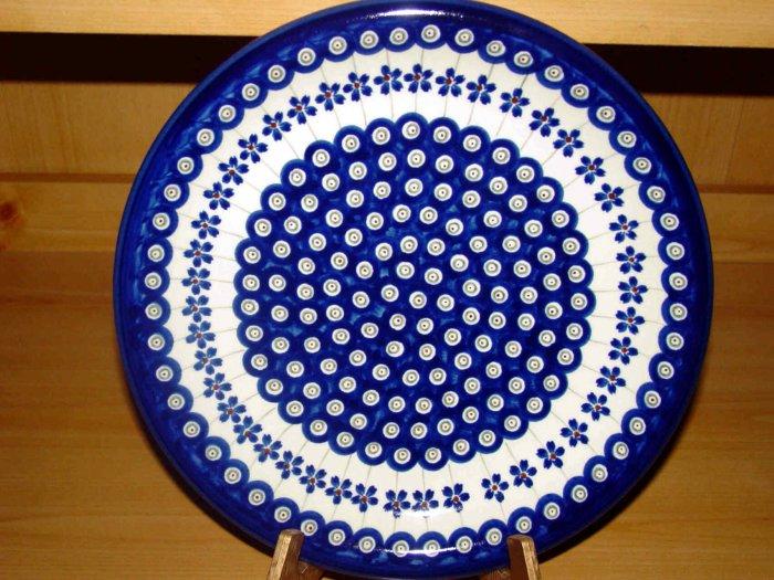 Polish Pottery Dinner Plate Flowering Peacock Zaklady Ceramiczne Boleslawiec Poland