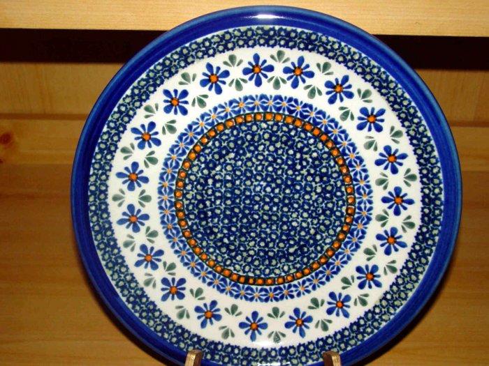 Polish Pottery  Dinner Plate Unikat Gat 1 New Hope Signed Zaklady Boleslwaiec Poland