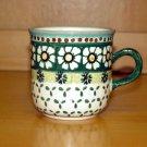 Polish Pottery Coffee Cup Green Daisy Wiza Boleslawiec Poland