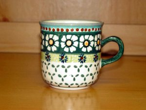 Polish Pottery Coffee Cup Green Daisy Wiza Boleslawiec Poland