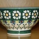 Polish Pottery Bowl Pedestal Green Daisy Wiza Boleslawiec Poland