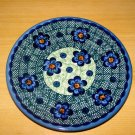 Polish Pottery Unikat Dessert Plate in Daisy Blue Boleslawiec Poland