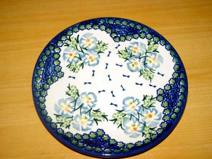 Polish Pottery Unikat Dessert Plate In Fancy Flowers, Boleslawiec Poland
