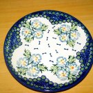 Polish Pottery Unikat Dessert Plate In Fancy Flowers, Boleslawiec Poland