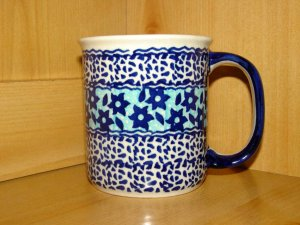 Polish Pottery Coffee Cup Mug In Midnight Star  Boleslawiec Poland