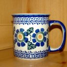 Polish Pottery Coffee Cup In Big Daisy  Boleslawiec Poland