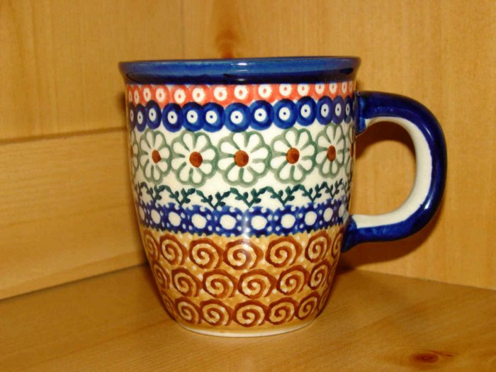 Polish Pottery Coffee Cup  Unikat Flower Circle Boleslawiec Poland