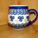 Polish Pottery Bubble Mug Blue Rose Boleslawiec Poland