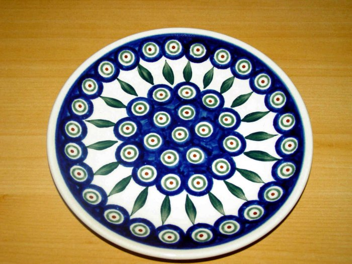 Polish Pottery Dessert  Plate Peacock Zaklady Ceramiczne Boleslawiec