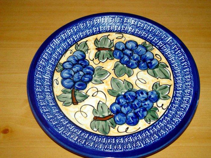 Polish Pottery Dinner Plate  Unikat Gat 1 Grapes Signed Zaklady Ceramiczne Boleslawiec Poland