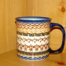 Polish Pottery Coffee Cup Unikat  Brown Swirl Boleslawiec Poland