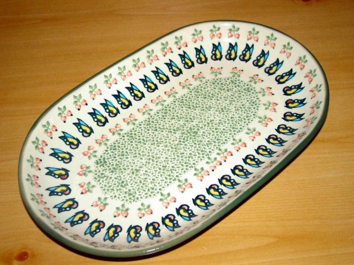Polish Pottery Platter Unikat  Butterfly Cherries Boleslawiec Poland