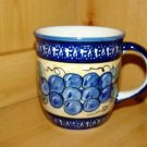 Polish Pottery Coffee Cup Grapes Unikat Zaklady Ceramiczne Handsigned