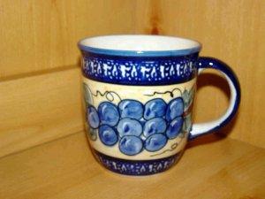 Polish Pottery Coffee Cup Grapes Unikat Zaklady Ceramiczne Handsigned