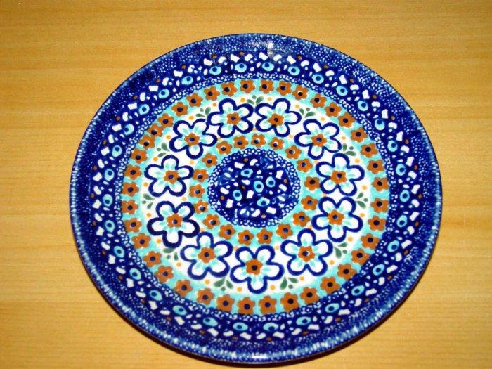 Polish Pottery Dessert Plate Blue Marble Gat 1 Zaklady  Ceramiczne Boleslawiec Poland