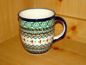 Polish Pottery Coffee Cup Jade Swirl Unikat Art 114 Zaklady Ceramiczne Boleslawiec Signed
