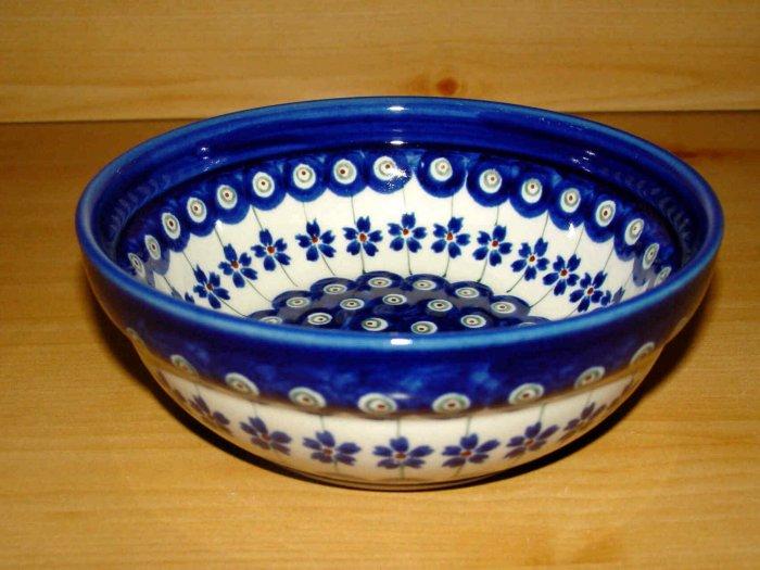 Polish Pottery Bowl  Gat 1 Flowering Peacock Zaklady C. Boleslawiec